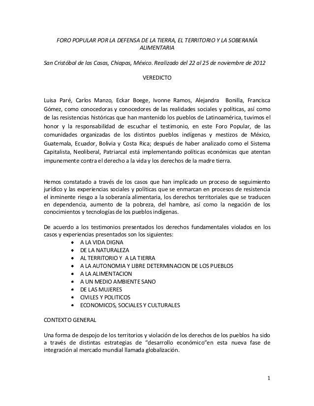 FORO POPULAR POR LA DEFENSA DE LA TIERRA, EL TERRITORIO Y LA SOBERANÍA                                ALIMENTARIASan Crist...