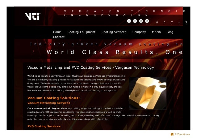 Vergason Technology Inc - Vacuum Metalizing and PVD Coating Services