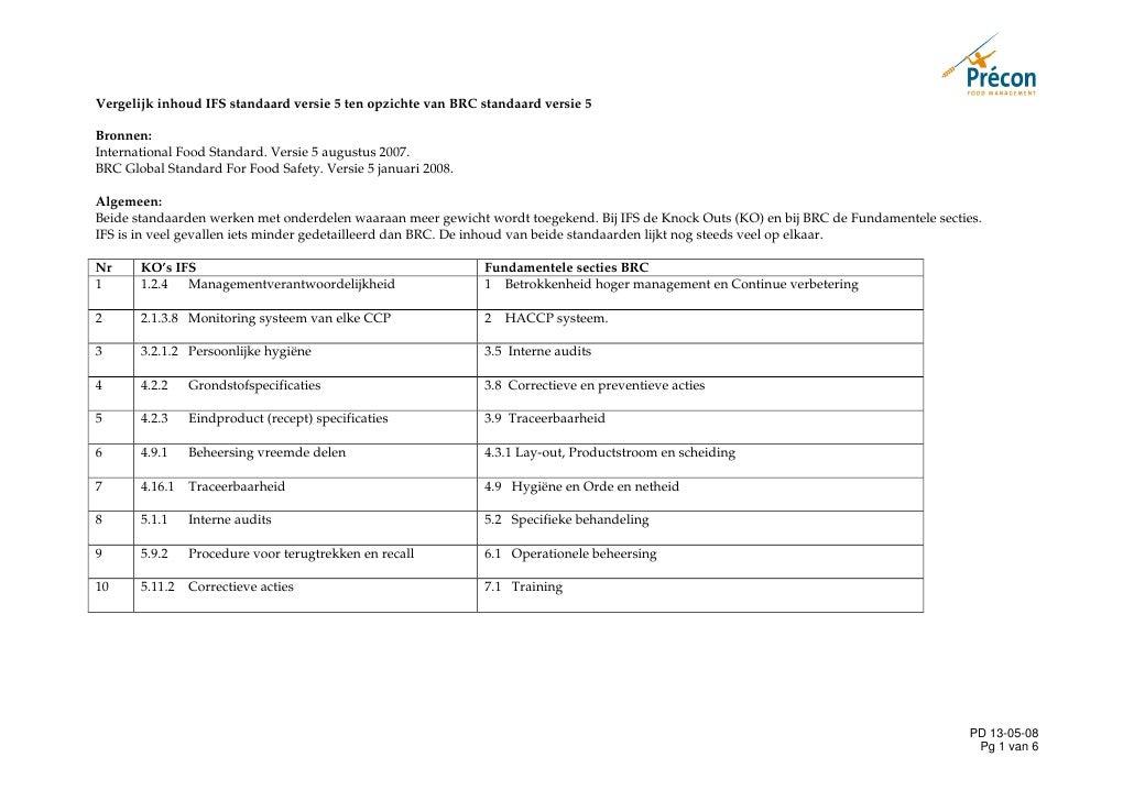 Vergelijk inhoud IFS standaard versie 5 ten opzichte van BRC standaard versie 5  Bronnen: International Food Standard. Ver...