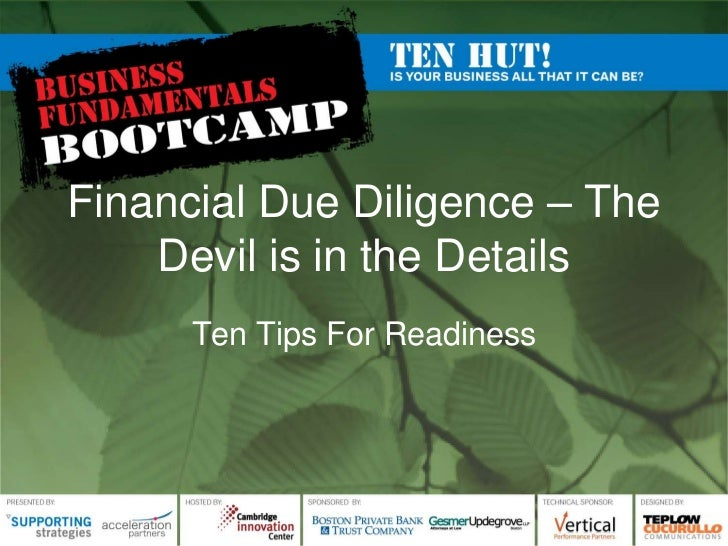 Financial Due Diligence – The Devil is in the Details<br />Ten Tips For Readiness<br />
