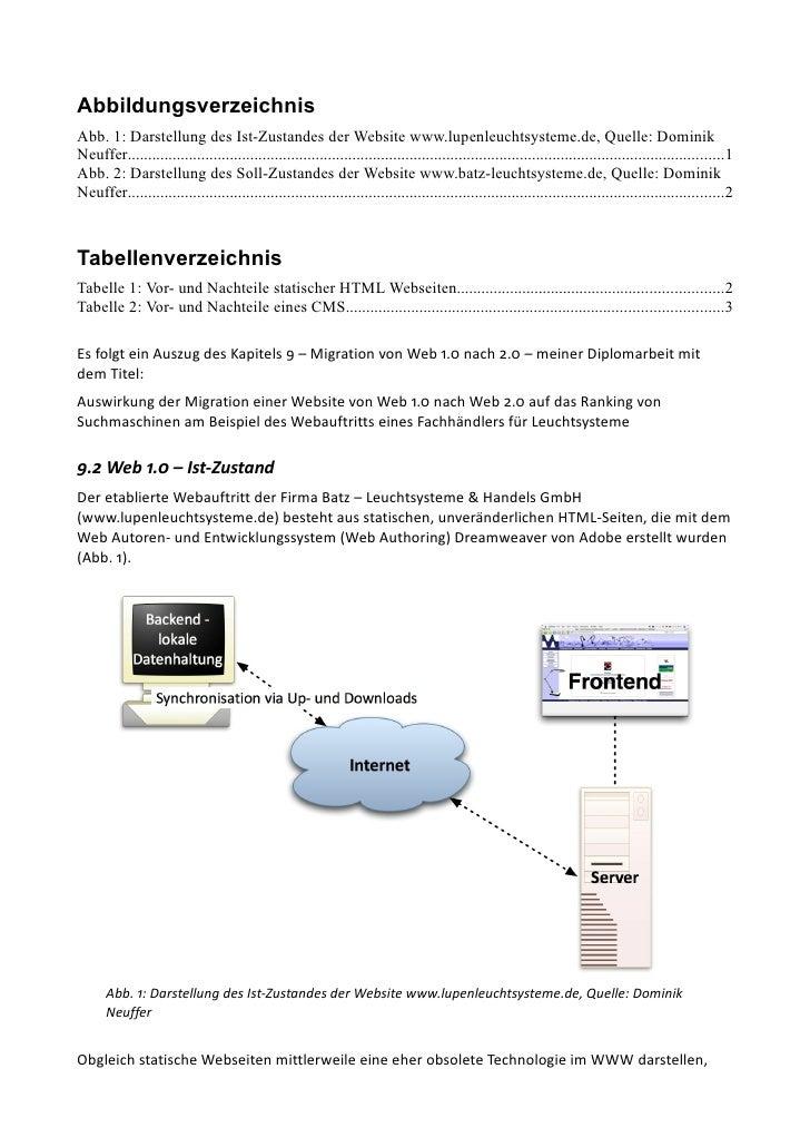 Abbildungsverzeichnis Abb. 1: Darstellung des Ist-Zustandes der Website www.lupenleuchtsysteme.de, Quelle: Dominik Neuffer...