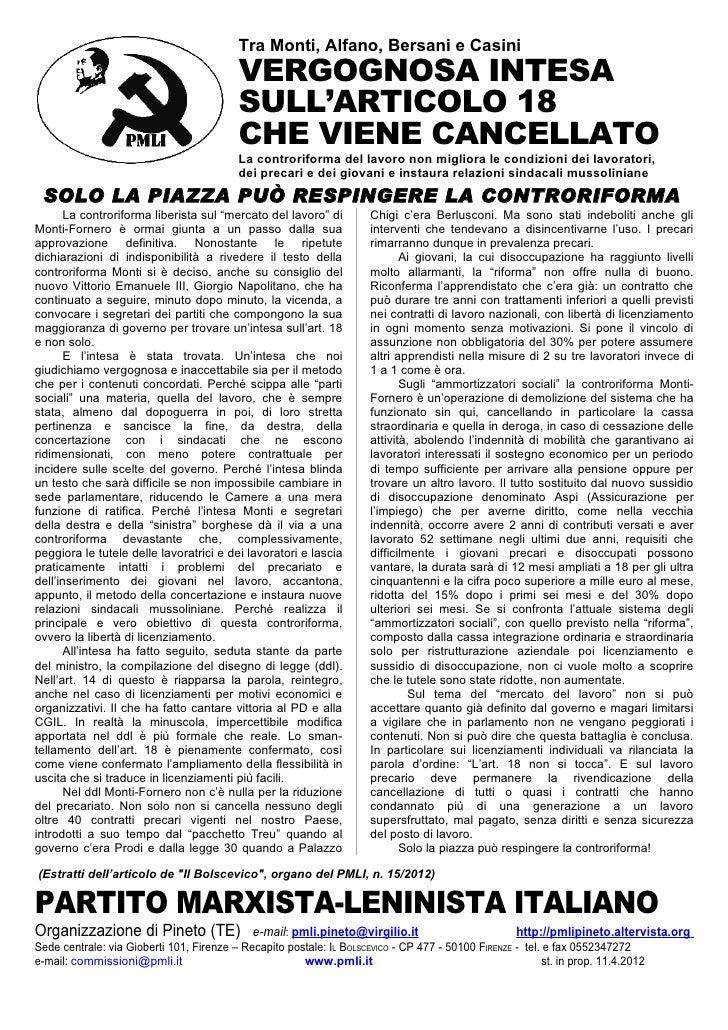 Tra Monti, Alfano, Bersani e Casini                                         VERGOGNOSA INTESA                             ...
