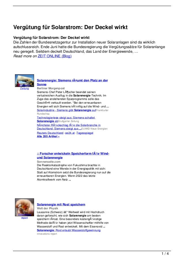 Vergütung für Solarstrom: Der Deckel wirktVergütung für Solarstrom: Der Deckel wirktDie Zahlen der Bundesnetzagentur zur I...