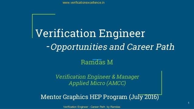 Verification Engineer - Career Path by Ramdas www.verificationexcellence.in Verification Engineer -Opportunities and Caree...