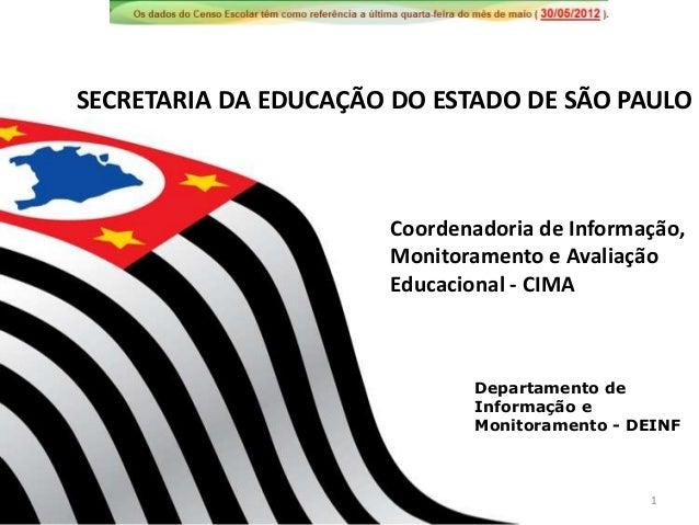 Departamento deInformação eMonitoramento - DEINFCoordenadoria de Informação,Monitoramento e AvaliaçãoEducacional - CIMASEC...