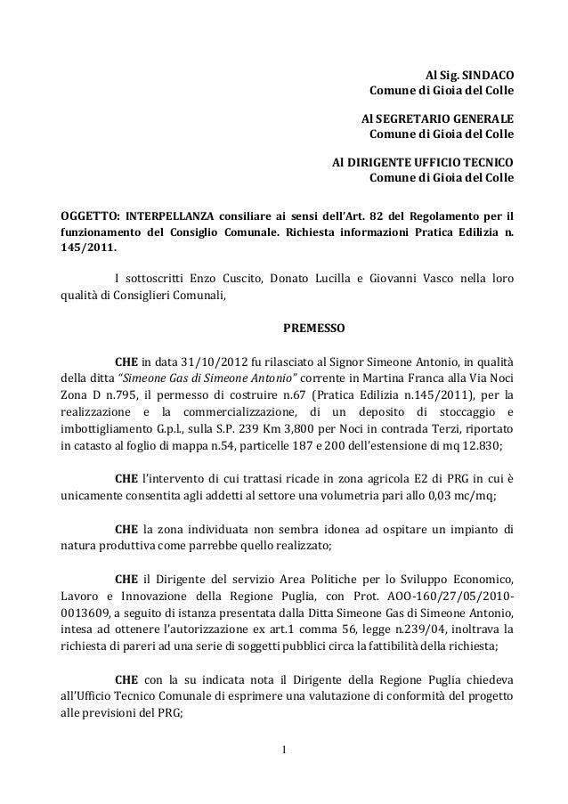 1 Al Sig. SINDACO Comune di Gioia del Colle Al SEGRETARIO GENERALE Comune di Gioia del Colle Al DIRIGENTE UFFICIO TECNICO ...