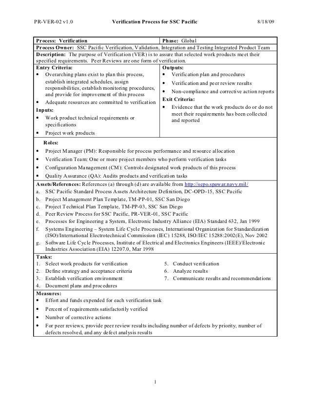 PR-VER-02 v1.0                  Verification Process for SSC Pacific                           8/18/09Process: Verificatio...