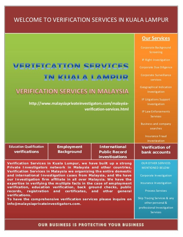 WELCOME TO VERIFICATION SERVICES IN KUALA LAMPUR                                                                          ...