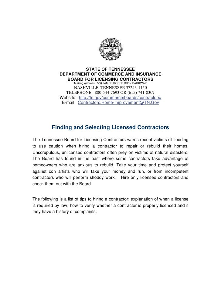 STATE OF TENNESSEE              DEPARTMENT OF COMMERCE AND INSURANCE                 BOARD FOR LICENSING CONTRACTORS      ...