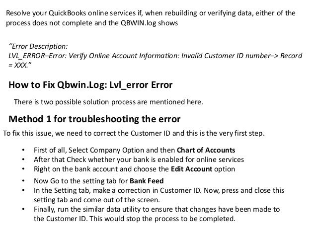 Qbwin Log: Lvl_ERROR - Error: Verify Online Account Details