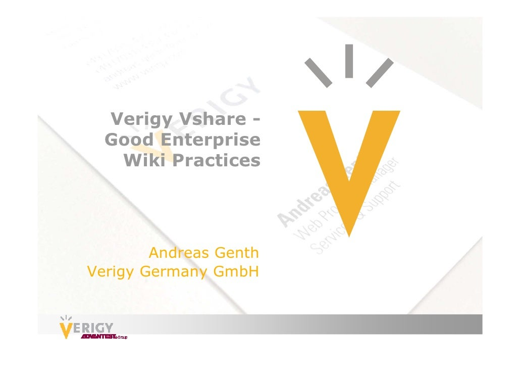 Verigy Vshare -  Good Enterprise   Wiki Practices        Andreas GenthVerigy Germany GmbH