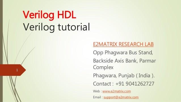Verilog Tutorial - Verilog HDL Tutorial with Examples