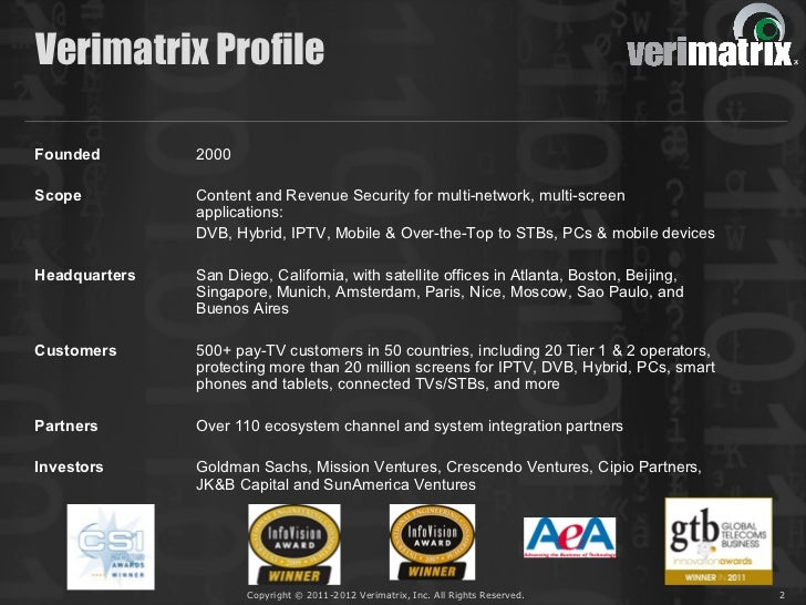 Verimatrix ProfileFounded        2000Scope          Content and Revenue Security for multi-network, multi-screen          ...