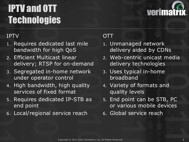 IPTV and OTTTechnologiesIPTV                                                      OTT1. Requires dedicated last mile      ...