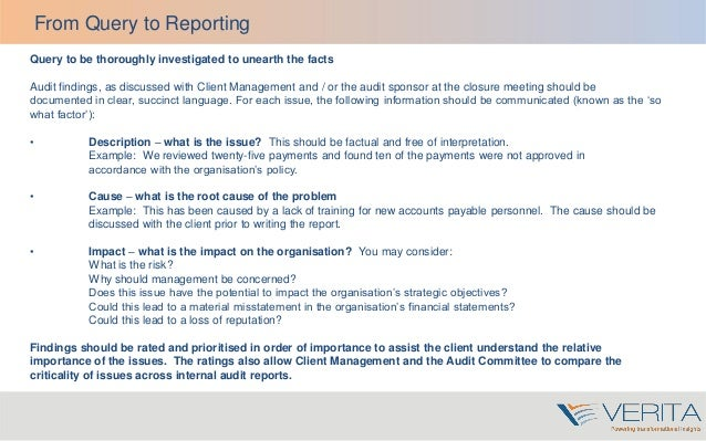 Audit report writing online training
