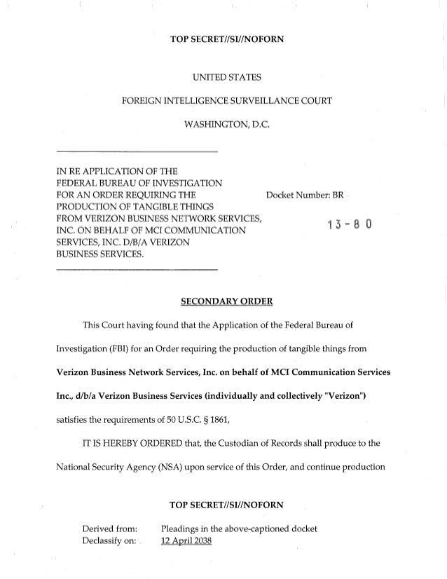 TOP SECRET//SI//NOFORNUNITED STATESFOREIGN INTELLIGENCE SURVEILLANCE COURTWASHINGTON, D.C.IN RE APPLICATION OF THEFEDERAL ...
