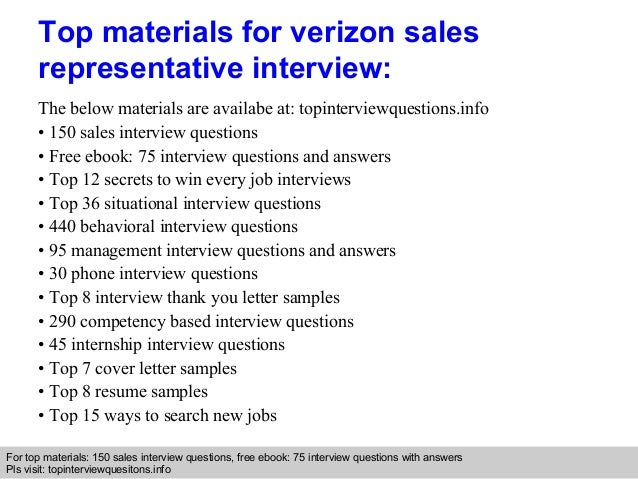Verizon sales representative interview questions and answers
