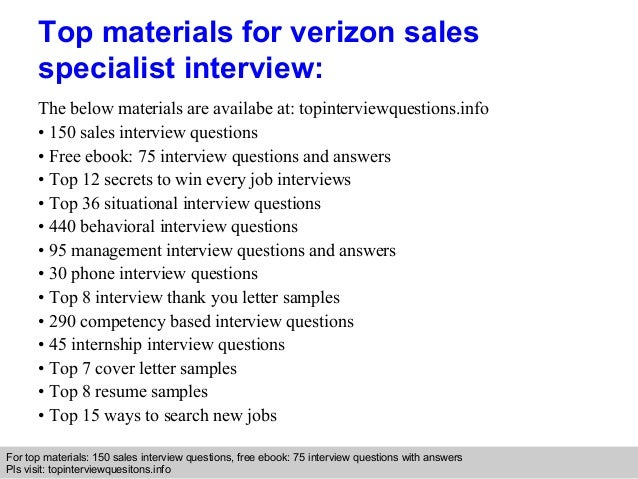 Verizon sales specialist interview questions and answers