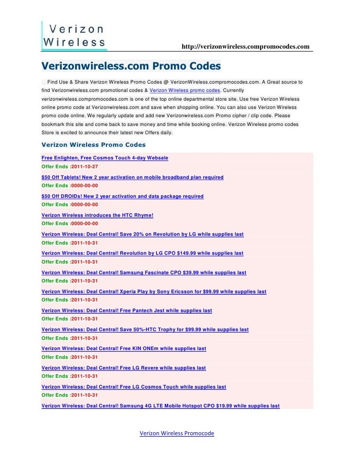 Verizon Wireless deals and discounts for 10/30/12222