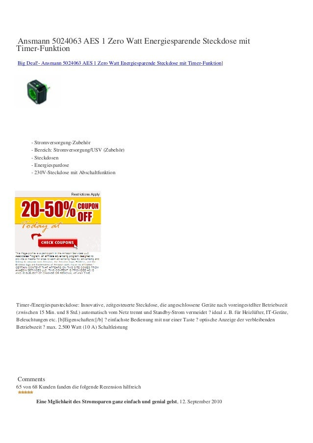 Ansmann 5024063 AES 1 Zero Watt Energiesparende Steckdose mitTimer-FunktionBig Deal!- Ansmann 5024063 AES 1 Zero Watt Ener...