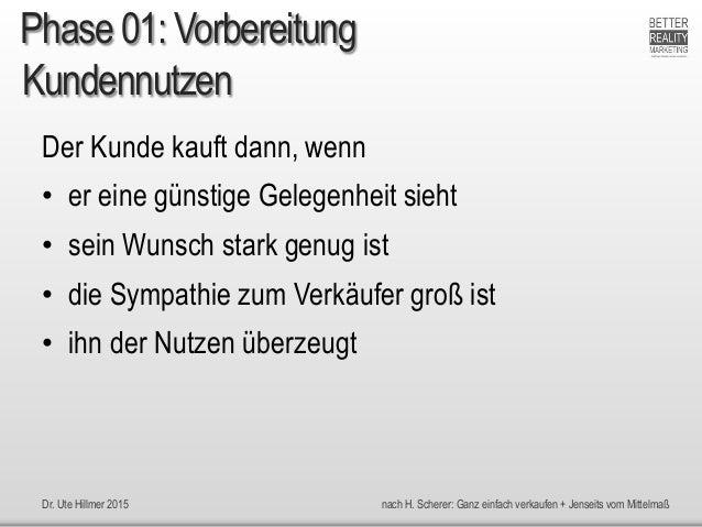 Dr. Ute Hillmer 2015 nach H. Scherer: Ganz einfach verkaufen + Jenseits vom Mittelmaß Kundennutzen Der Kunde kauft dann, w...