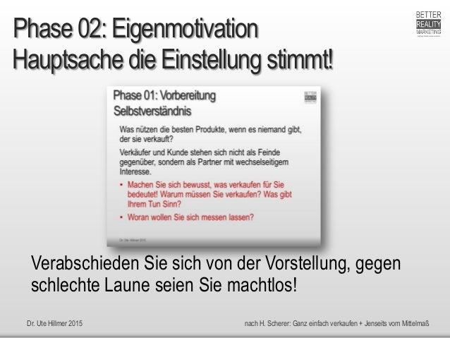 Dr. Ute Hillmer 2015 nach H. Scherer: Ganz einfach verkaufen + Jenseits vom Mittelmaß Hauptsache die Einstellung stimmt! P...