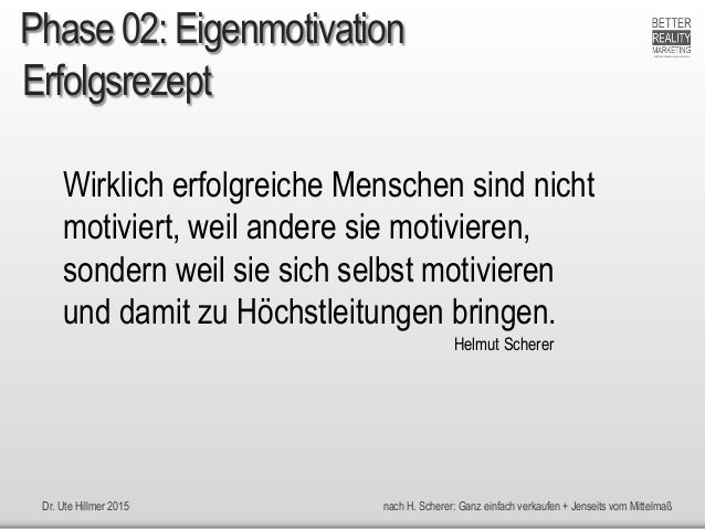 Dr. Ute Hillmer 2015 nach H. Scherer: Ganz einfach verkaufen + Jenseits vom Mittelmaß Erfolgsrezept Wirklich erfolgreiche ...