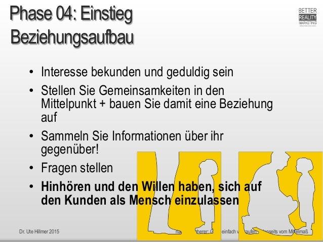 Dr. Ute Hillmer 2015 nach H. Scherer: Ganz einfach verkaufen + Jenseits vom Mittelmaß Beziehungsaufbau • Interesse bekunde...