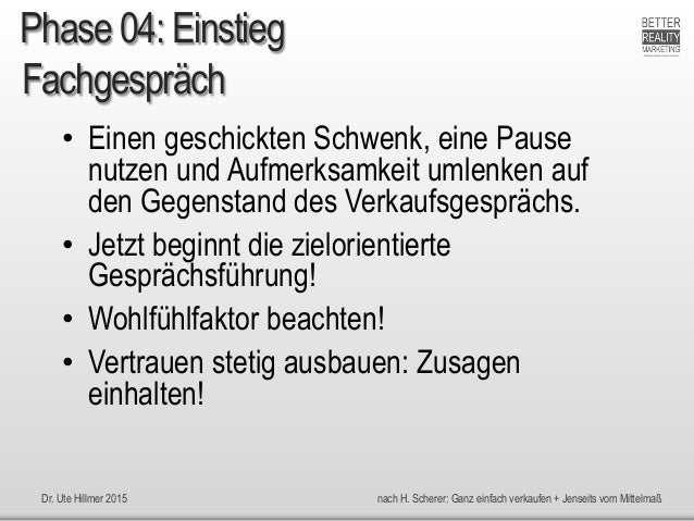 Dr. Ute Hillmer 2015 nach H. Scherer: Ganz einfach verkaufen + Jenseits vom Mittelmaß Fachgespräch • Einen geschickten Sch...