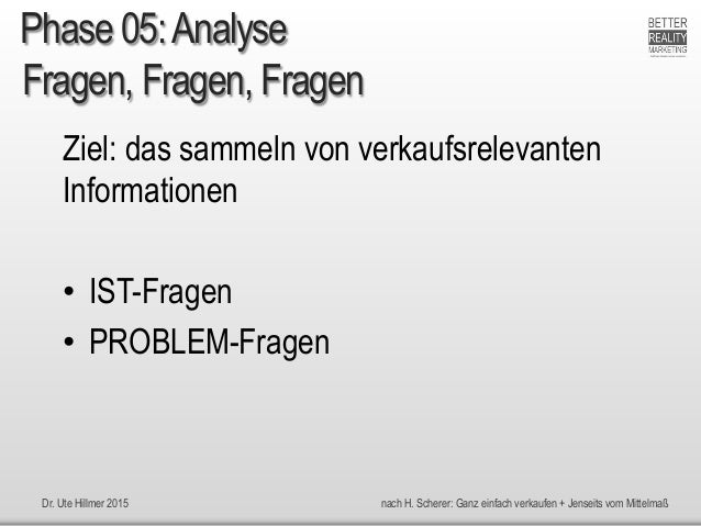 Dr. Ute Hillmer 2015 nach H. Scherer: Ganz einfach verkaufen + Jenseits vom Mittelmaß Fragen, Fragen, Fragen Ziel: das sam...
