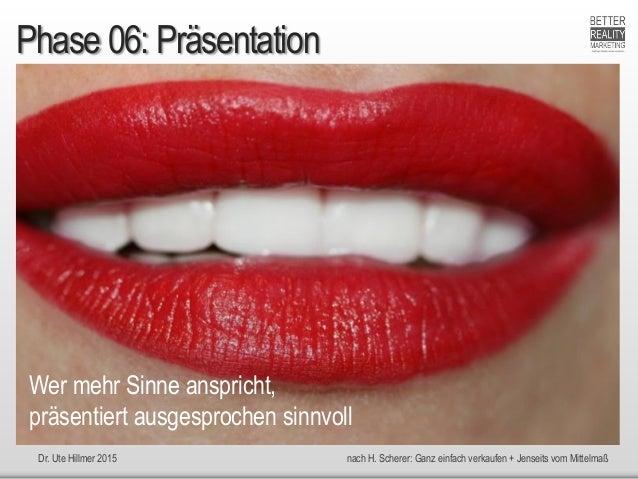 Dr. Ute Hillmer 2015 nach H. Scherer: Ganz einfach verkaufen + Jenseits vom Mittelmaß Phase 06: Präsentation Wer mehr Sinn...