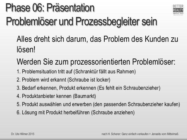 Dr. Ute Hillmer 2015 nach H. Scherer: Ganz einfach verkaufen + Jenseits vom Mittelmaß Problemlöser und Prozessbegleiter se...
