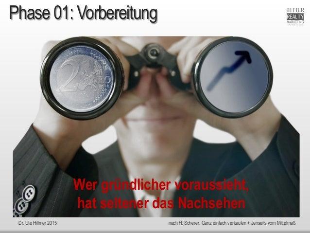 Dr. Ute Hillmer 2015 nach H. Scherer: Ganz einfach verkaufen + Jenseits vom Mittelmaß Phase 01: Vorbereitung Wer gründlich...