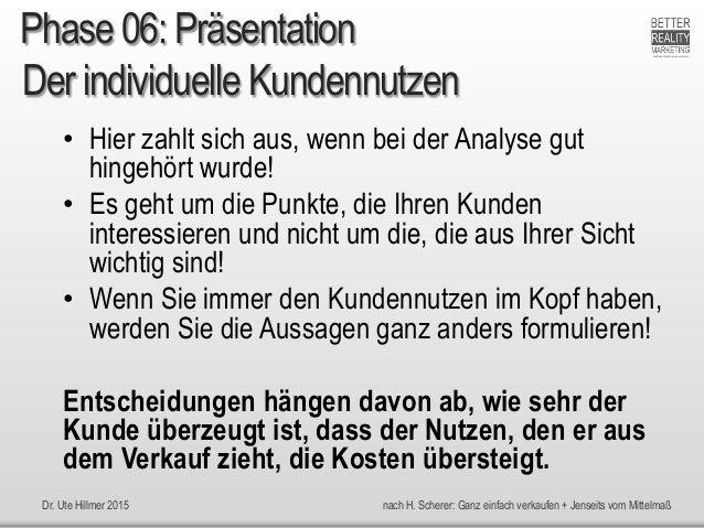 Dr. Ute Hillmer 2015 nach H. Scherer: Ganz einfach verkaufen + Jenseits vom Mittelmaß Der individuelle Kundennutzen • Hier...