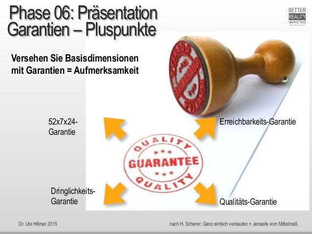 Dr. Ute Hillmer 2015 nach H. Scherer: Ganz einfach verkaufen + Jenseits vom Mittelmaß Garantien – Pluspunkte Versehen Sie ...