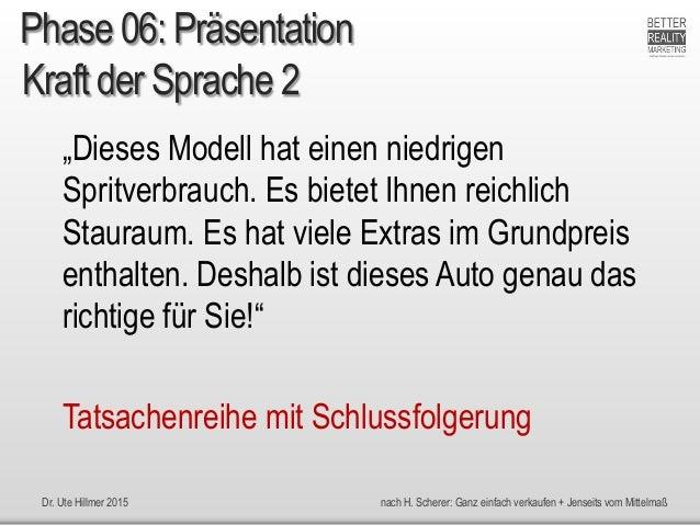 """Dr. Ute Hillmer 2015 nach H. Scherer: Ganz einfach verkaufen + Jenseits vom Mittelmaß Kraft der Sprache 2 """"Dieses Modell h..."""