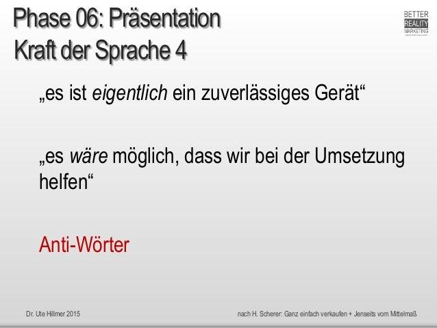 """Dr. Ute Hillmer 2015 nach H. Scherer: Ganz einfach verkaufen + Jenseits vom Mittelmaß Kraft der Sprache 4 """"es ist eigentli..."""