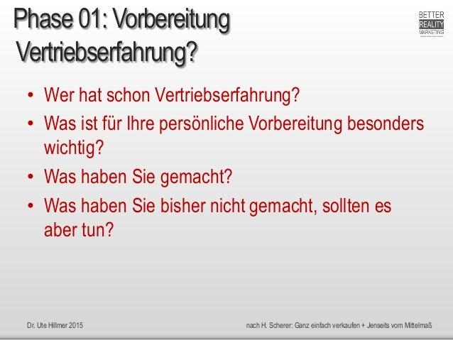 Dr. Ute Hillmer 2015 nach H. Scherer: Ganz einfach verkaufen + Jenseits vom Mittelmaß Vertriebserfahrung? • Wer hat schon ...