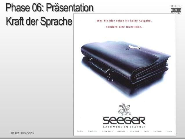 Dr. Ute Hillmer 2015 nach H. Scherer: Ganz einfach verkaufen + Jenseits vom Mittelmaß Kraft der Sprache 6 Phase 06: Präsen...