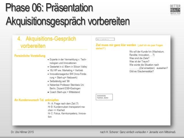 Dr. Ute Hillmer 2015 nach H. Scherer: Ganz einfach verkaufen + Jenseits vom Mittelmaß Akquisitionsgespräch vorbereiten Pha...