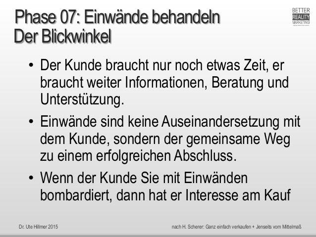 Dr. Ute Hillmer 2015 nach H. Scherer: Ganz einfach verkaufen + Jenseits vom Mittelmaß Der Blickwinkel • Der Kunde braucht ...