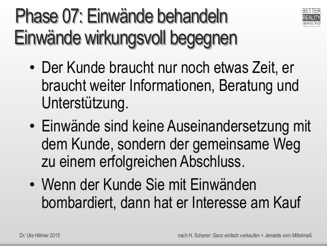Dr. Ute Hillmer 2015 nach H. Scherer: Ganz einfach verkaufen + Jenseits vom Mittelmaß Einwände wirkungsvoll begegnen • Der...