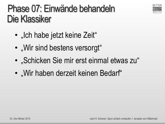 """Dr. Ute Hillmer 2015 nach H. Scherer: Ganz einfach verkaufen + Jenseits vom Mittelmaß Die Klassiker • """"Ich habe jetzt kein..."""
