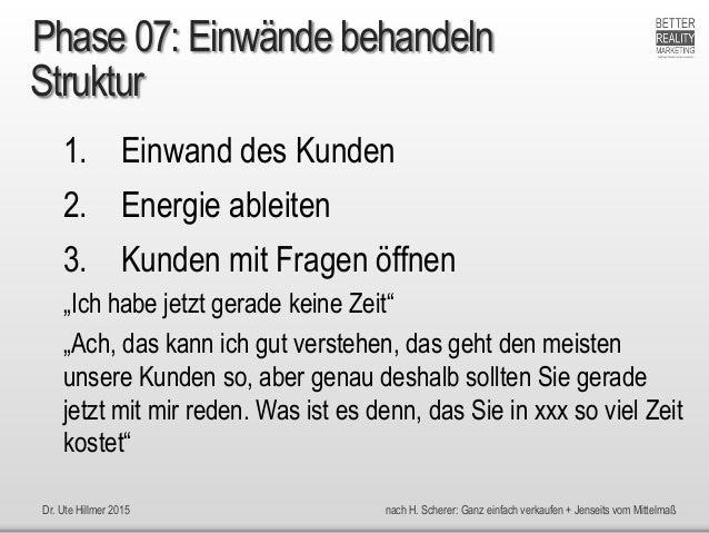 Dr. Ute Hillmer 2015 nach H. Scherer: Ganz einfach verkaufen + Jenseits vom Mittelmaß Struktur 1. Einwand des Kunden 2. En...