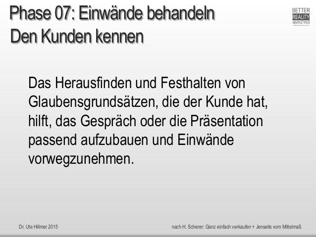 Dr. Ute Hillmer 2015 nach H. Scherer: Ganz einfach verkaufen + Jenseits vom Mittelmaß Den Kunden kennen Das Herausfinden u...