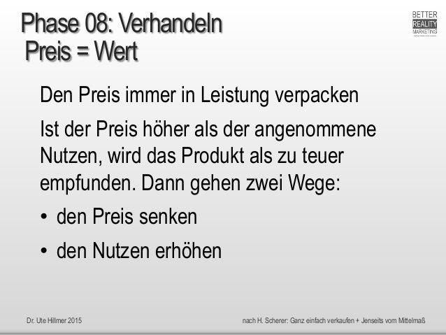 Dr. Ute Hillmer 2015 nach H. Scherer: Ganz einfach verkaufen + Jenseits vom Mittelmaß Preis = Wert Den Preis immer in Leis...