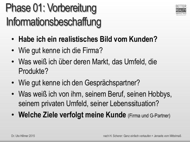 Dr. Ute Hillmer 2015 nach H. Scherer: Ganz einfach verkaufen + Jenseits vom Mittelmaß Informationsbeschaffung • Habe ich e...