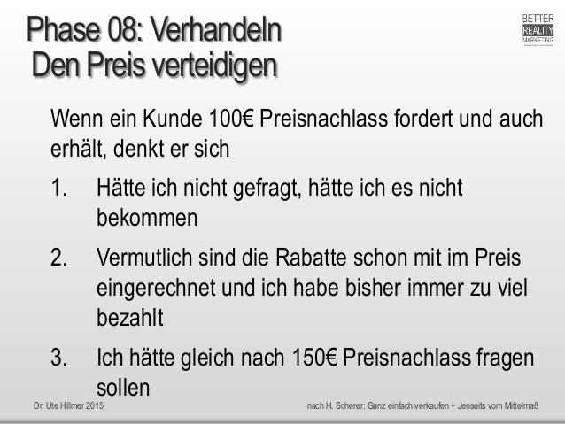Dr. Ute Hillmer 2015 nach H. Scherer: Ganz einfach verkaufen + Jenseits vom Mittelmaß Den Preis verteidigen Wenn ein Kunde...