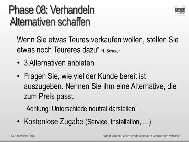 Dr. Ute Hillmer 2015 nach H. Scherer: Ganz einfach verkaufen + Jenseits vom Mittelmaß Alternativen schaffen Wenn Sie etwas...