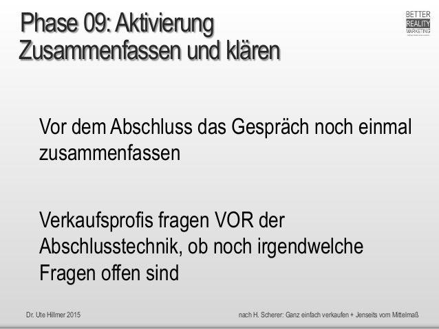 Dr. Ute Hillmer 2015 nach H. Scherer: Ganz einfach verkaufen + Jenseits vom Mittelmaß Zusammenfassen und klären Vor dem Ab...